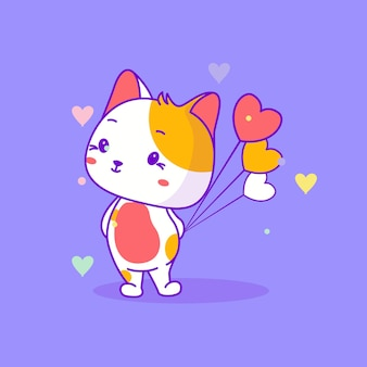 Nette babykatze mit herzballonvektorillustration
