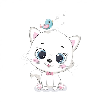 Nette babykatze mit vogel. illustration für babyparty, grußkarte, partyeinladung, modekleidungs-t-shirt drucken.