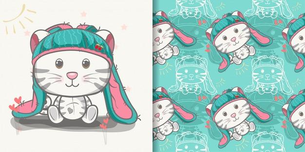 Nette babykatzenkarikatur mit nahtlosem muster