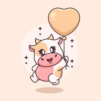 Nette babykuh, die mit ballonkarikatur fliegt