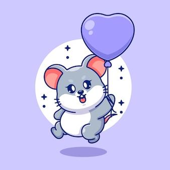 Nette babymaus, die mit ballonkarikatur fliegt