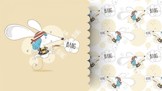 Nette babymaus in einer piratenanzugs-karikaturhand gezeichnet. kann für baby-t-shirt-druck und muster verwendet werden