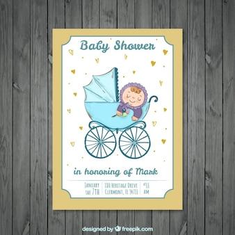 Nette babypartyeinladung mit kind auf kinderwagen