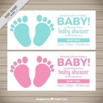 Nette babypartyeinladungen mit abdrücken