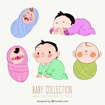 Nette babysammlung in der aquarellart