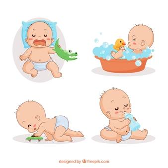 Nette babysammlung in der hand gezeichnete art