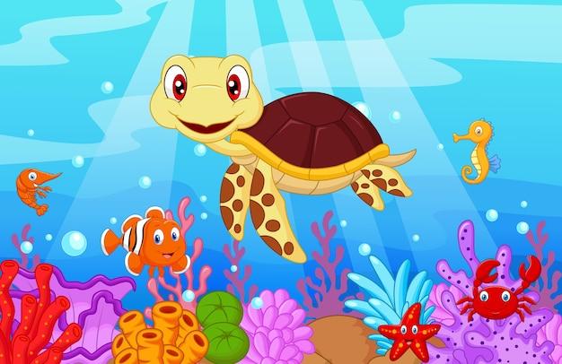 Nette babyschildkrötekarikatur mit sammlungsfischen