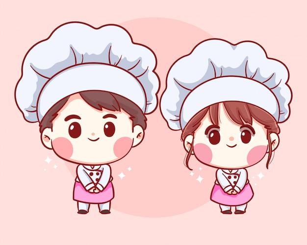 Nette bäckerei-köche jungen und mädchen begrüßen lächelndes cartoon-kunstillustrationslogo.