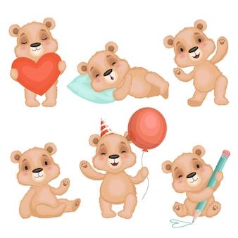 Nette bärenhaltung. netter tierteddybärjunge spielt für die kindergeburtstags- oder valentinsgrußgeschenkcharaktere, die eingestellt werden