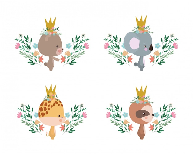 Nette bärenkoala-giraffe und trägheitskarikatur entwerfen, tierzoo-lebensnaturcharakterkindheit und entzückende thema vektorillustration