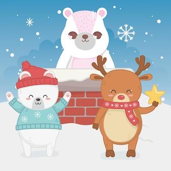 Nette bärenrotwild mit frohen weihnachten des kaminschnees