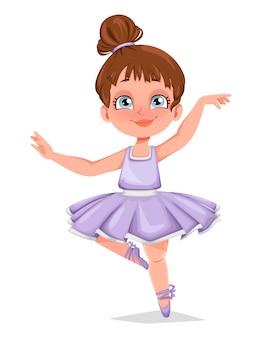 Nette ballerina des kleinen mädchens. lustiges mädchen