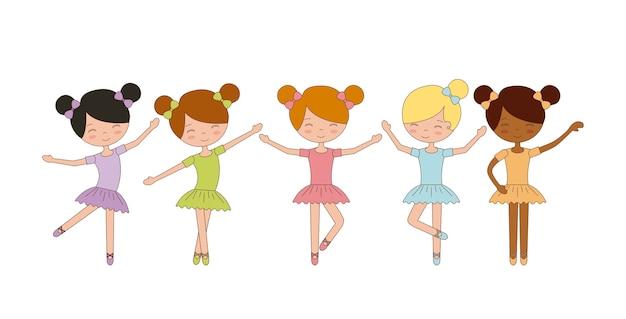 Nette ballerinamädchen, die balletttanz üben