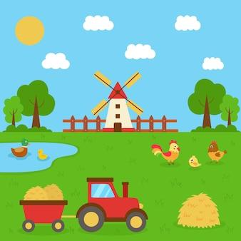 Nette bauernhofszene im sommer. traktor im feld. hausvögel in der farmlandschaft.