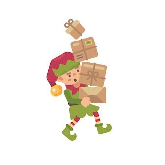Nette beschäftigte weihnachtselfe, die pakete mit geschenken für kinder trägt. flache illustration des feriencharakters