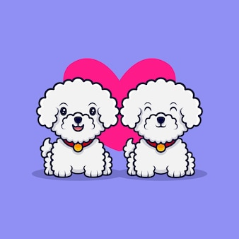 Nette bichon frise hund verlieben sich in cartoon icon illustration