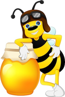 Nette biene mit honig isoliert