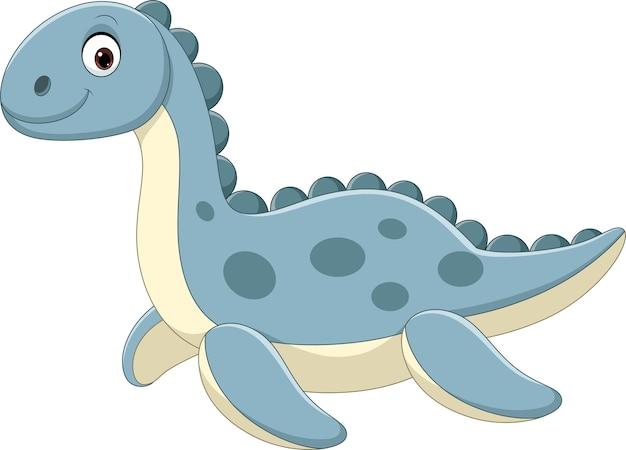 Nette blaue dinosaurierpuppe lokalisiert auf einem weißen hintergrund Premium Vektoren