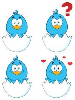 Nette blaue vogel-zeichentrickfilm-figur
