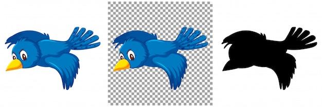 Nette blaue vogelkarikaturfigur