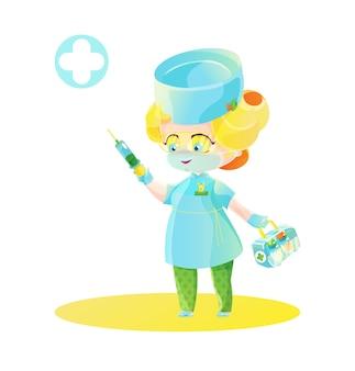 Nette blonde ärztin mit spritze und boxen mit medizin. chibi-charakter, kinderkarikaturillustration