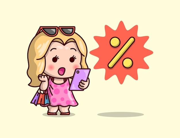 Nette blonde frau bringt einkauftasche einkaufen online.