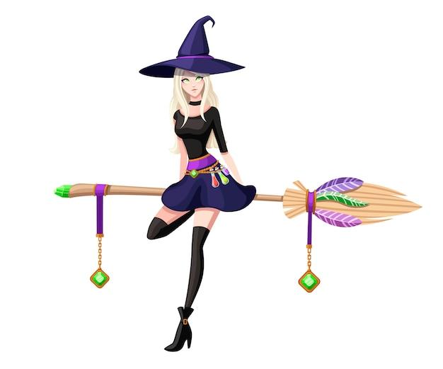 Nette blonde hexe sitzen auf fliegendem besen. hexe lila hut und kleidung. zeichentrickfigur . wunderschöne frauen. illustration auf weißem hintergrund