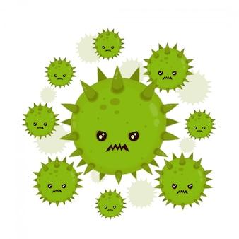 Nette böse böse böse fliegenkeimvirus-infektion, mikrobakterien. moderne flache art-cartoon-charakterillustration. isoliert auf weißem hintergrund