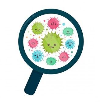 Nette böse böse böse fliegenkeimvirus-infektion, mikrobakterien unter einer lupe. moderne flache artzeichentrickfilm-illustration. isoliert auf weißem hintergrund