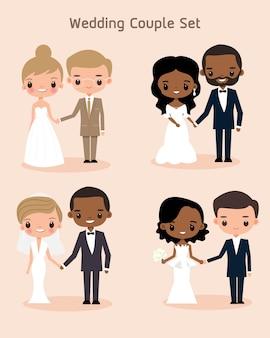 Nette braut- und bräutigampaare für hochzeitseinladungskarte