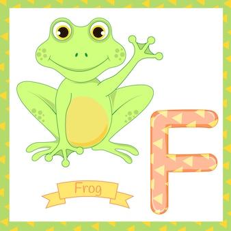 Nette buchstabeverfolgung des kinderzoo-alphabetes f des frosches fliege essend für die kinder, die englischen wortschatz lernen