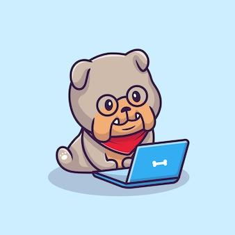 Nette bulldogge, die laptop-cartoon-illustration betreibt. tier-technologie-symbol-konzept