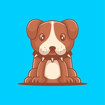 Nette bulldogge-karikatur-vektor-illustration. konzept zum welttierschutztag
