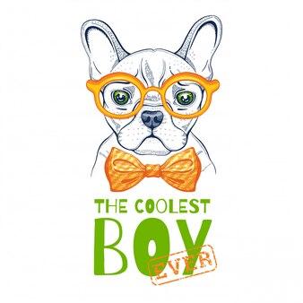 Nette bulldoggenhundillustration