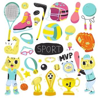 Nette bunte sporthand gezeichnete gekritzelillustration