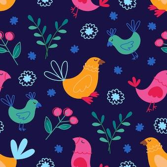 Nette bunte vögel und lustige illustration des nahtlosen musters der blumenelemente auf dunkelblauem hintergrund