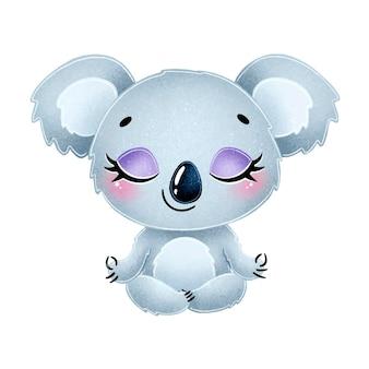 Nette cartoon-tiere meditieren tiere yoga koala meditiert