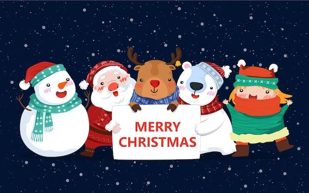 Nette cartoon-weihnachtsfiguren
