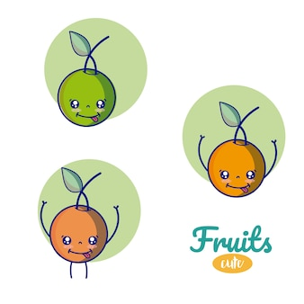 Nette cartoons der früchte der früchte