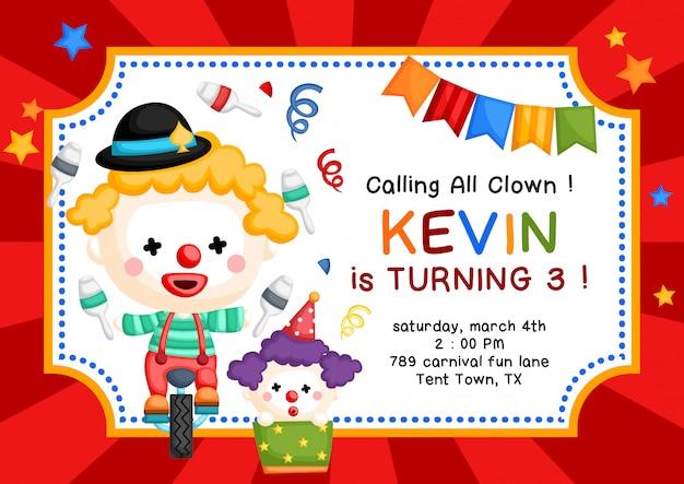Nette clown-thema-geburtstags-einladung