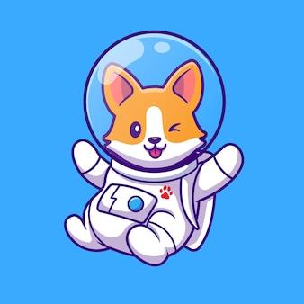 Nette corgi astronaut fliegende karikatur vektor-illustration. tierwissenschaftliches konzept isolierter vektor. flacher cartoon-stil