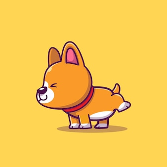Nette corgi peeing cartoon icon illustration. tierikon-konzept isoliert. flacher cartoon-stil
