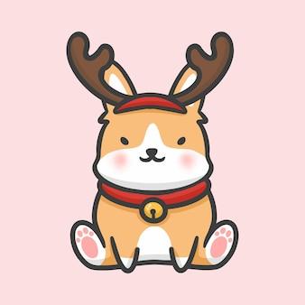 Nette corgikostümren-weihnachtshand gezeichnete karikaturart