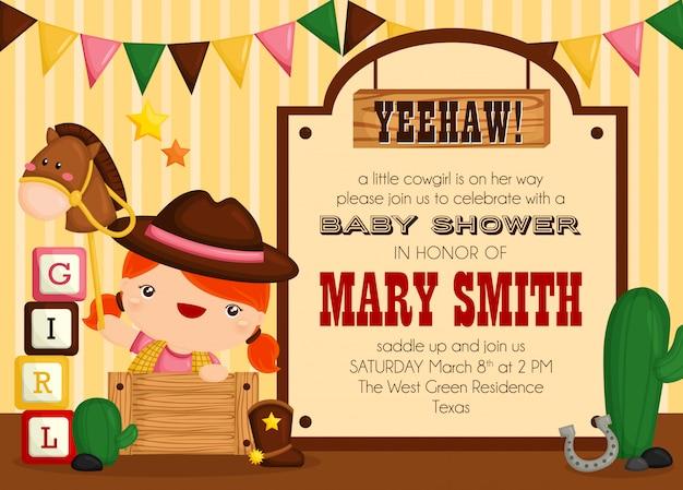 Nette cowboy-baby-einladung