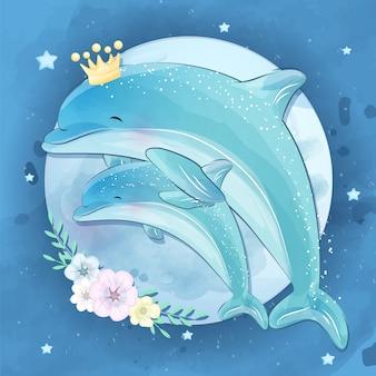Nette delfinmutter und baby