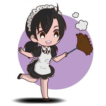 Nette dienstmädchen-zeichentrickfigur. job-cartoon-konzept.