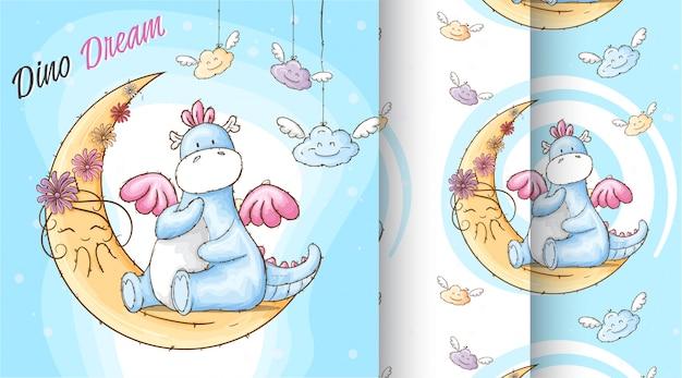 Nette dino dream-musterillustration