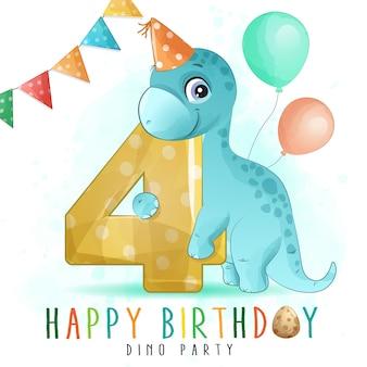 Nette dinosauriergeburtstagsfeier mit nummerierungsillustration