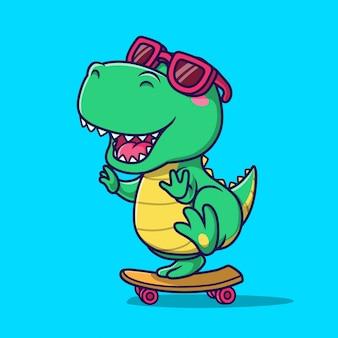 Nette dinosaurierreit-skateboardillustration