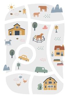 Nette dorfkarte mit häusern und tieren. handgezeichnete vektor-illustration eines bauernhofes. stadtplanersteller.